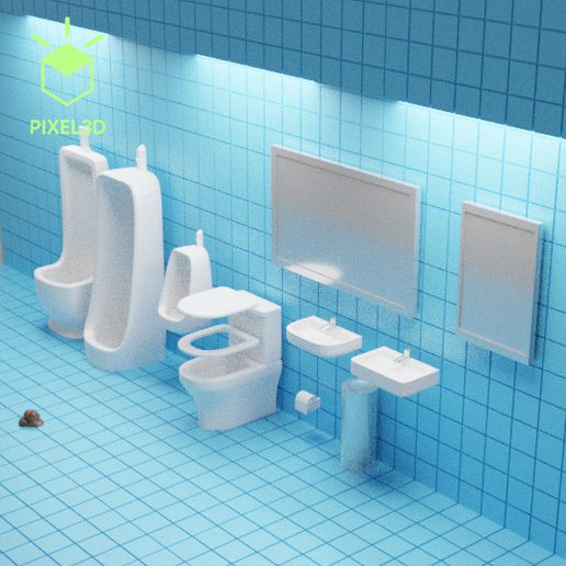 3-Overview.jpg Download STL file Toilet Diorama PACK 5m-1 • 3D printable template, Pixel3D
