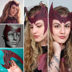 Wandavision_Scarlet_Witch_Inspired_Crown07.jpg Download STL file Wandavision Scarlet Witch Inspired Crown 3D print model • Model to 3D print, leandrojsj
