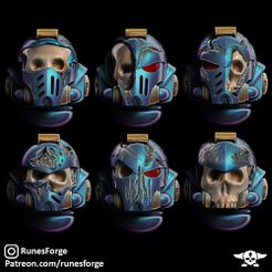 1.jpg Download free STL file Battle Damaged Skeleton Space Heads • 3D printer model, artiiicus
