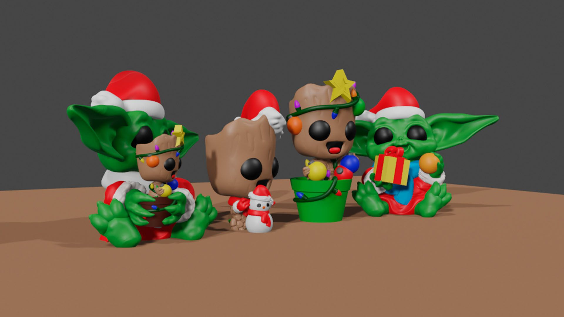 Baby Groot Baby Yoda All 03.jpg Download STL file Baby Groot Pot and Baby Yoda Christmas • Object to 3D print, Markdejavu
