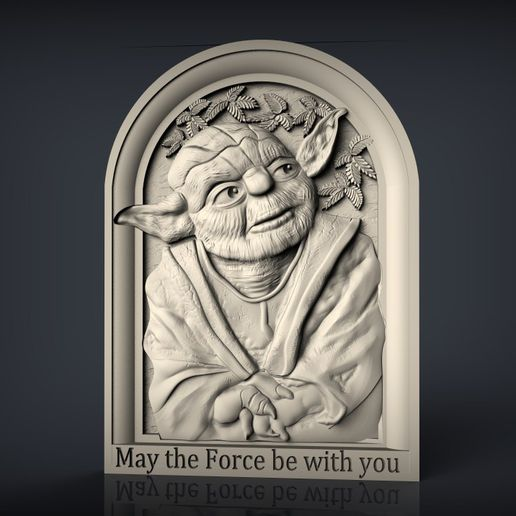 285.jpg Download free STL file Yoda star wars may the force be with you cnc router bust • 3D printable object, Terhrinai