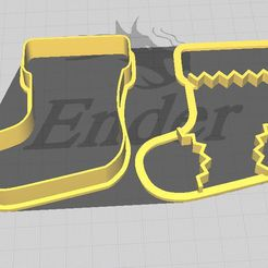 Bota zig zag.JPG Download STL file Christmas Boot Cookie and Fondant Cutter with Embosser • 3D print model, 3DSweetBakery