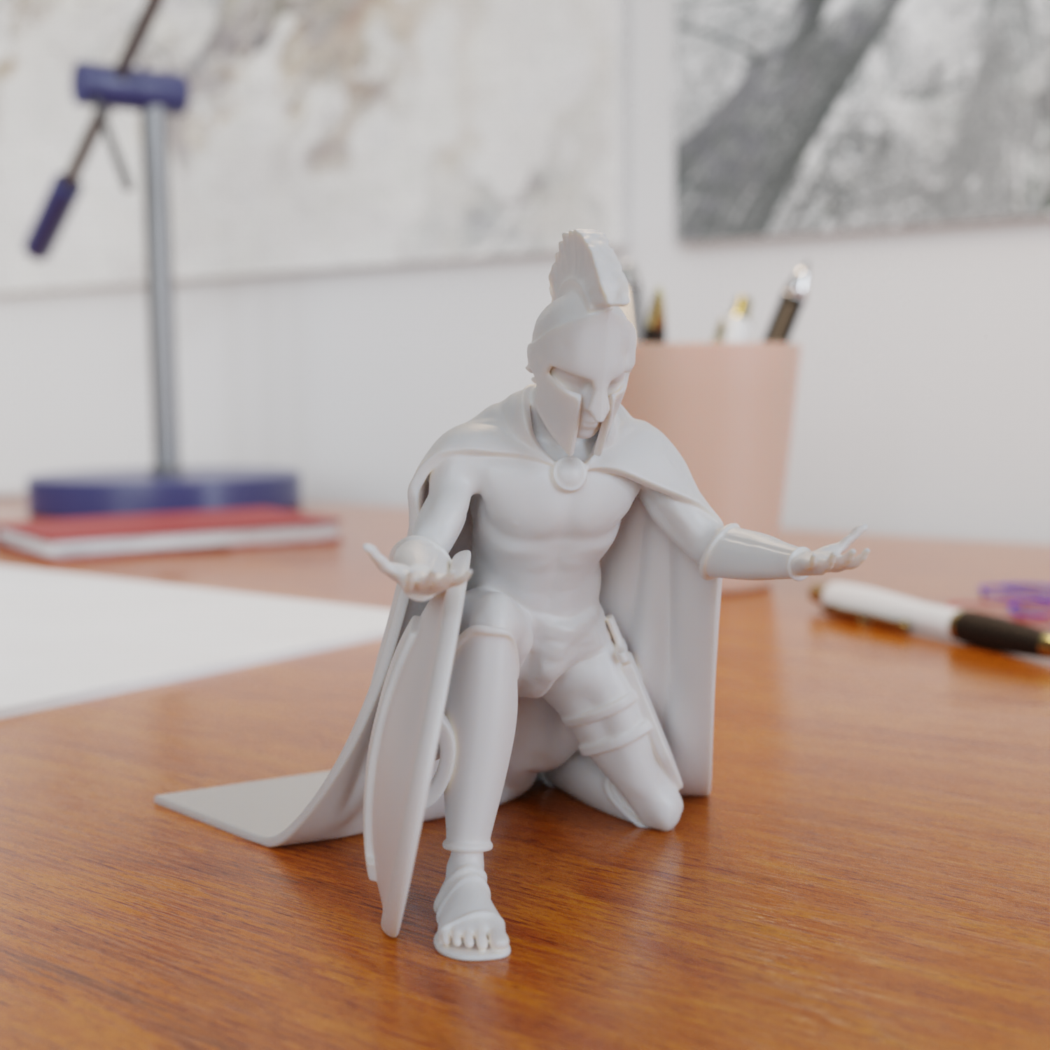 8.png Download STL file Spartan Soldier Pen Holder • Model to 3D print, Alessandro_Palma