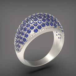 006.jpg Download STL file A ring with stones. • 3D printer template, Golden-Snake
