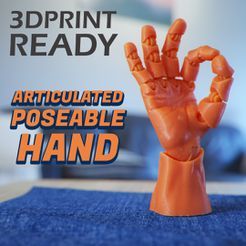 thumbnail_square.jpg Download STL file Articulated Poseable Hand • 3D printing template, RikkTheGaijin
