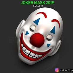 01.27.jpg Download STL file CLOWN MASK 2019 - Joker Mask 2019 - HALLOWEEN MASK - Joker movie 2019 • 3D print object, Bstar3Dart