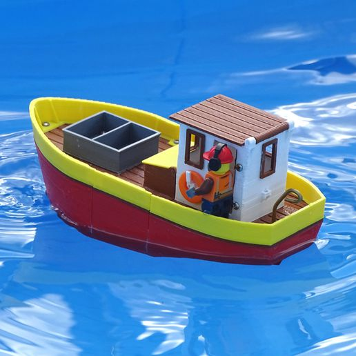 Preview3.jpg Download free STL file Small fishing boat - floating toy for kids • 3D printable model, Printed-Toys