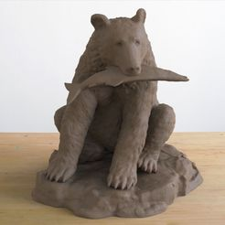 bear with fish.48.jpg Download STL file Grizzly Bear with Fish • Model to 3D print, JGranite