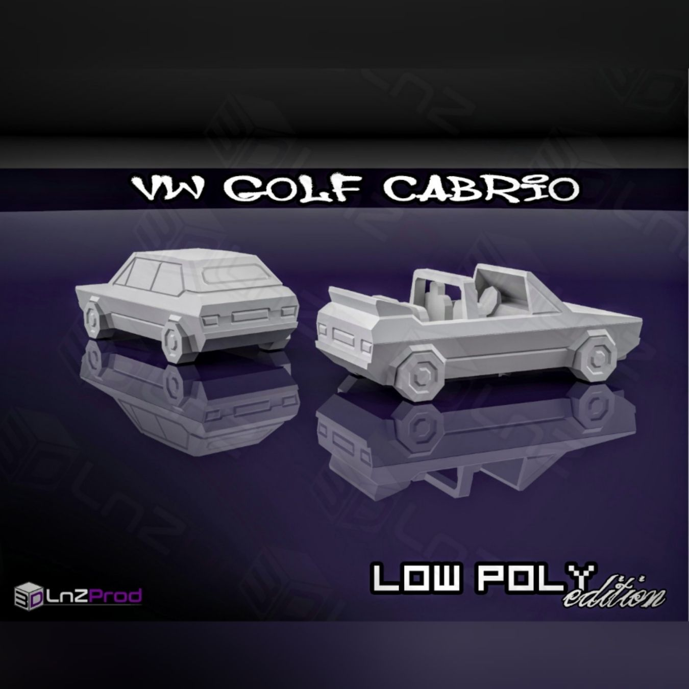 2.jpg Download free STL file Vw golf mk1 cabrio low poly • 3D printable design, LnZProd