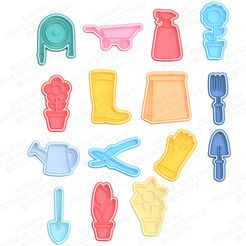1.jpg Download STL file Spring / garden cookie cutter set of 15 • 3D printing design, roxengames