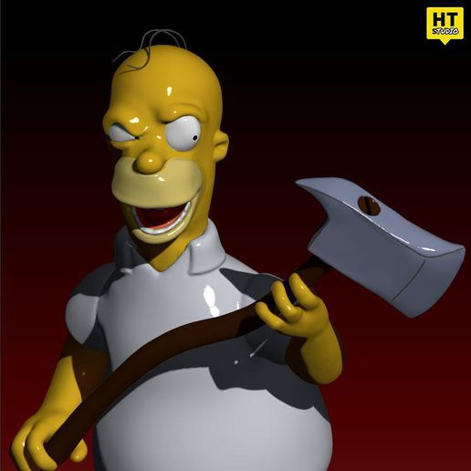 HOMER RENDER CULTS.jpg Download free STL file The Simpsons Homer The Shinning TreeHouse of Horror V • 3D print template, HTBROS