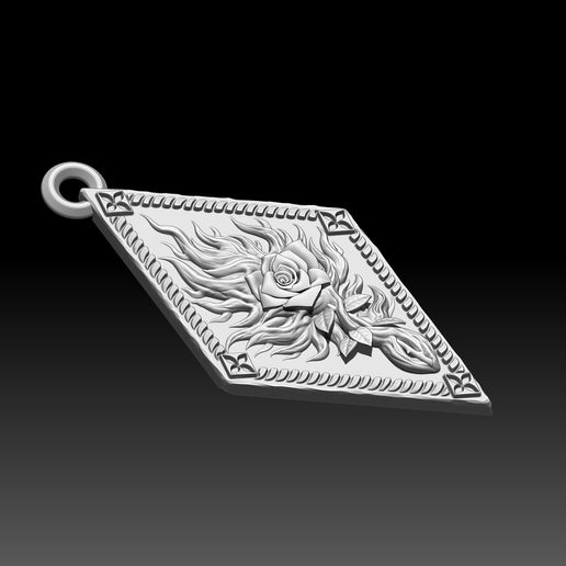 5.jpg Download STL file Witcher Order of the Flaming Rose amulet • Object to 3D print, ssharkus