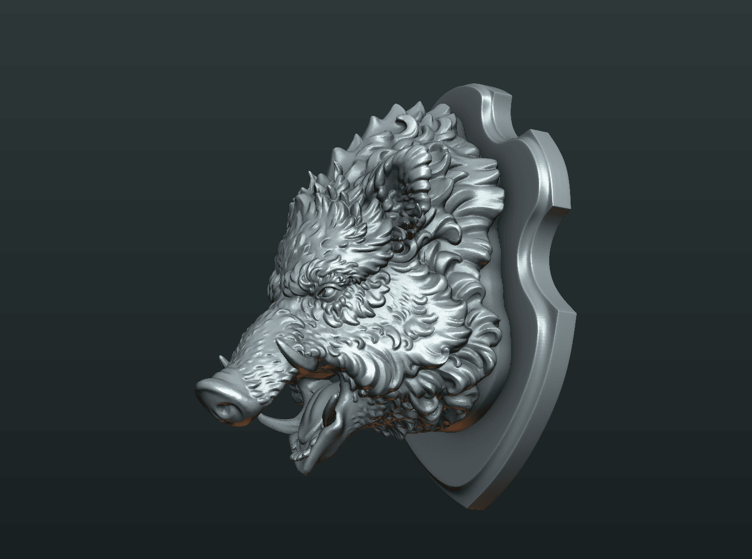 W_Boar_H-06.png Download STL file Wild Boar Mounted Head • 3D printer design, Skazok