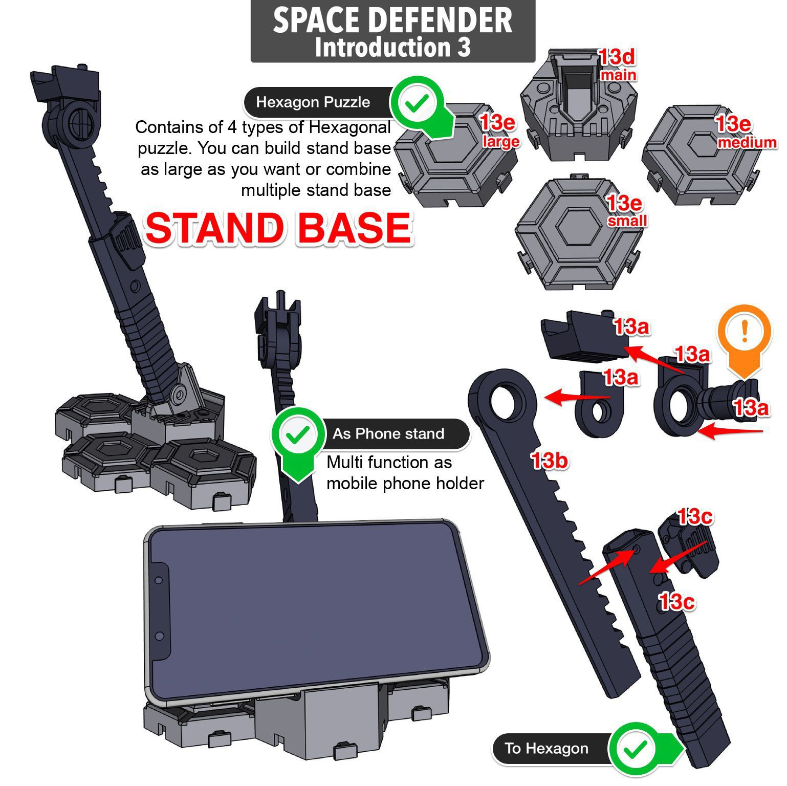 Space_Intro3.JPG Download STL file ARTICULATED SPACE DEFENDER (Not Astro Megazord) - NO SUPPORT • 3D printable object, Toymakr3D