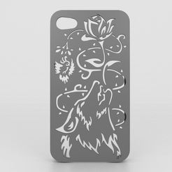 Wolf Iphone Case.jpg Descargar archivo STL Howling Wolf Iphone Case 6 6s • Objeto imprimible en 3D, Custom3DPrinting