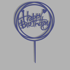 Happy-Birthday-4-v1.png Download STL file Happy Birthday Cake Topper • Object to 3D print, dkn2610