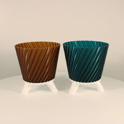 Twisted-Planter-with-legs,-amber,-emerald,-Slimprint-1.jpg Download free 3MF file Twisted Planter with Legs, (vase mode) • 3D print template, Slimprint