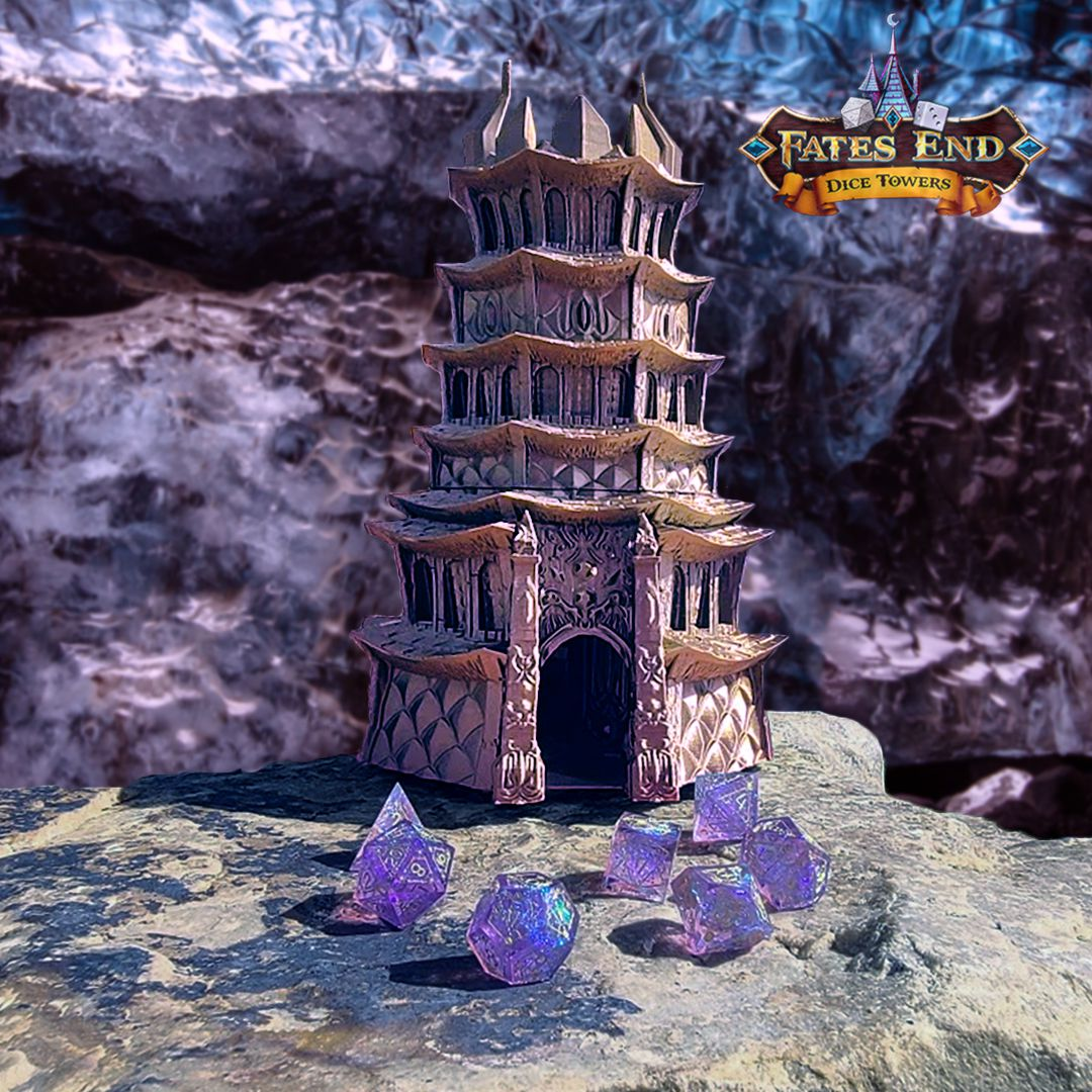 DrowCavewithLogo.jpg Download STL file Drow Dice Tower - SUPPORT FREE! • Model to 3D print, Kimbolt