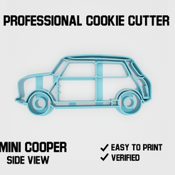 cooper2.png Download STL file Mini Cooper car side Cookie cutter • Design to 3D print, Cookiecutters