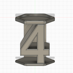 PORTE-BOUGIE-4-v2.png Download STL file Birthday candle holder number four (4) • 3D print template, Cybric