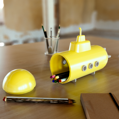 Yellow submarine.Denoiser.png Download STL file Submarine-shaped case • 3D printing template, martinbarrera