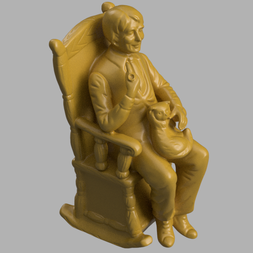homme chaise chat rendu 3 .png Download STL file Man chair and cat • 3D printable object, motek