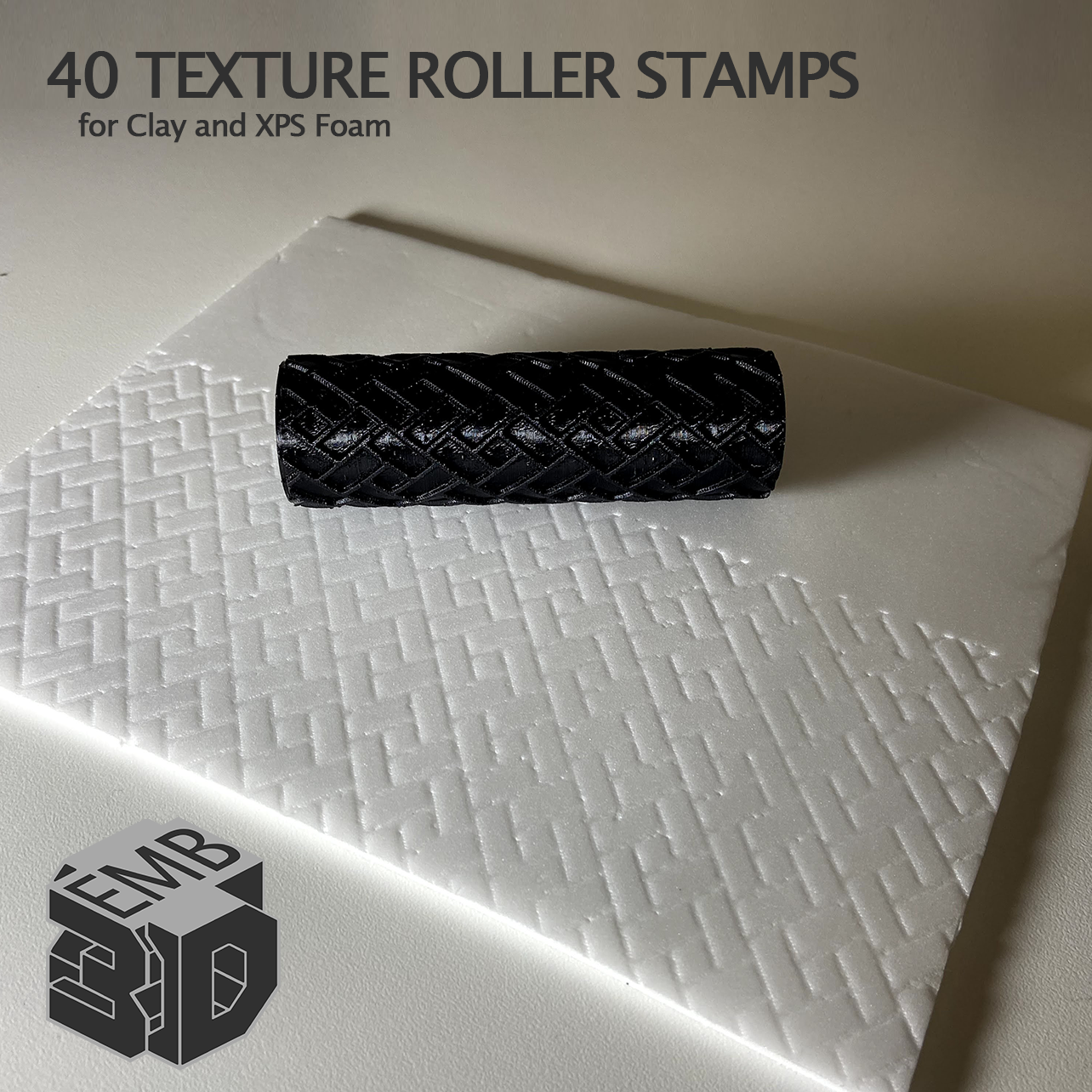 XPS5.png Download STL file 40 Clay and XPS Foam Texture Roller Stamp • 3D printer object, emboyd