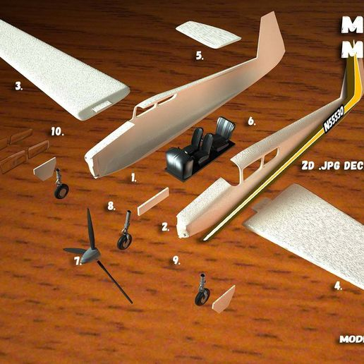 render-mooney.jpg Download free file Touristic plane • Template to 3D print, MaoCasella