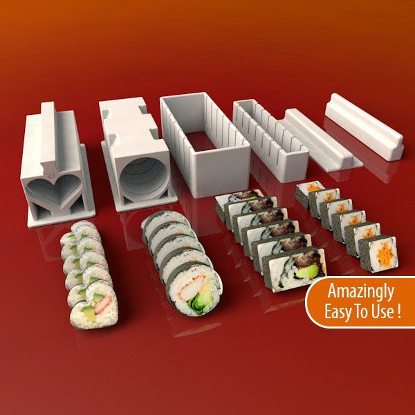 Sushi-Press4_display_large.jpg Télécharger fichier STL gratuit Ensemble Sushi Maker • Design à imprimer en 3D, Balkhnarb
