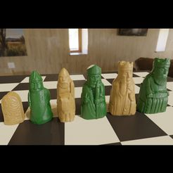 lewis.jpg Download 3MF file 3D printable Medieval Chess Set New Pieces • 3D print model, GuillermoMX