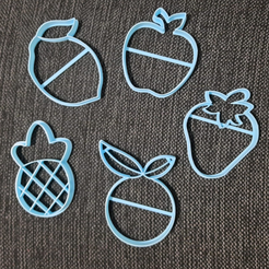 chrome_2020-08-26_21-53-34.png Descargar archivo STL Fruits Apple Orange Pineapple Lemon Strawberry Cookie Cutter • Plan imprimible en 3D, 3dcookiecutterscom