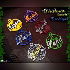 1.jpg Download STL file Customizable christmas pendants pack • 3D printing template, LnZProd