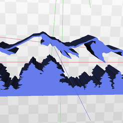 Screenshot-(786).png Download STL file Mountain and Trees Scene • Model to 3D print, AKXY