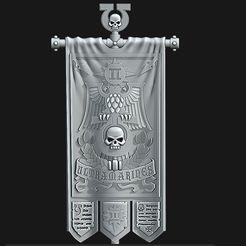 Shapeways.jpg Download STL file UM 2nd Company Banner - Defenders of the Temple • Design to 3D print, Red-warden-miniatures
