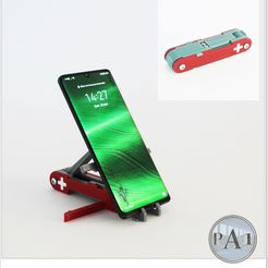 swiss.jpg Download STL file Swiss Knife Cell Holder / Phone stand • 3D printer template, PA1