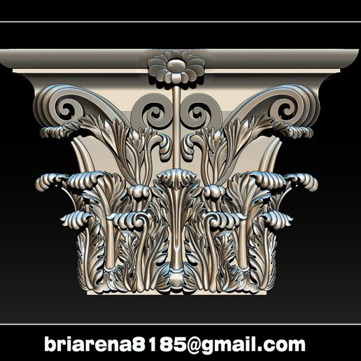 005.jpg Download STL file Column capital - 3D STL Models CNC Router • 3D printing template, briarena8185