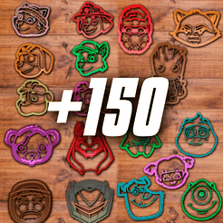-150.png Download STL file All high detailed cookie cutter sets (+150 cookie cutters) • 3D printer template, davidruizo