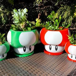 IMG_9185 (1).jpg Download free STL file Mario Themed Mushroom Planter | Assemble-After-Print & Dual-Color/Multi-Material Print Files • 3D print template, ThinAirCraftworks