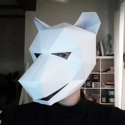 Capture d'écran 2018-04-05 à 17.31.46.png Download free STL file Low poly wolf paper mask • 3D print template, dasaki