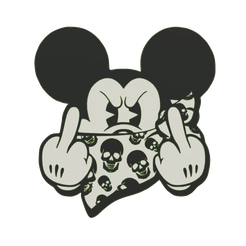 Bad-Mickey-middle-fingers-v1.png Télécharger fichier STL Bad Mickey 2d wall hanging • Plan à imprimer en 3D, jwmustanggt