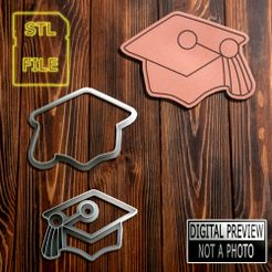 Capelo(Final).jpg Download STL file Cookie Cutter and Stamp - Square Academic Cap • 3D printing model, Jean_Nascimento