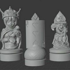 Wonderland_Chess1.jpg Download STL file Lewis Carol Wonderland Chess Set • 3D printer model, Anubis_