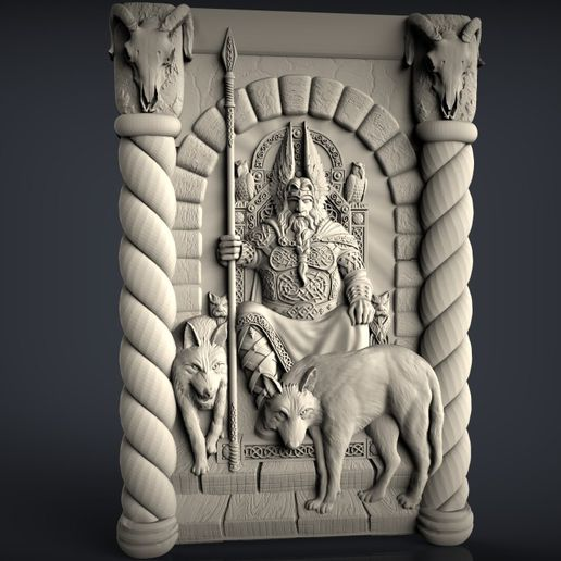 Odin.jpg Download free STL file Odin with 2 wolves on his throne god art cnc router machine • 3D print model, Terhrinai