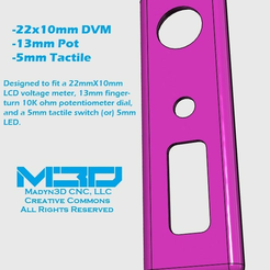 """faceplate_1.png Download free STL file .28"""" LCD Voltmeter & Potentiometer Faceplate • Design to 3D print, Madyn3D"""