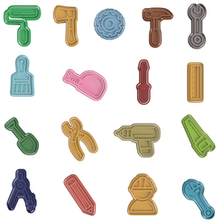 Tool-Set.png Download STL file Tools Cookie Cutter Set of 17 • Object to 3D print, dwain