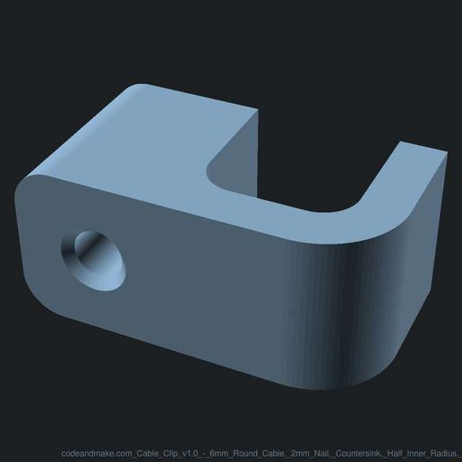 codeandmake.com_Cable_Clip_v1.0_-_6mm_Round_Cable_2mm_Nail_Countersink_Half_Inner_Radius_Half_Outer_Radius_logo_cjpeg_dssim-srcw.jpg Download free SCAD file Fully Customizable Cable Clip with Nail Hole • 3D printing object, Code_and_Make