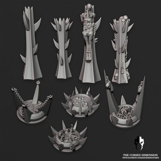 Tokensjpg.jpg Download STL file Gruesome Pits and Pillars - 25mm objective markers / Tokens - Cursed Elves • 3D print design, edgeminiatures