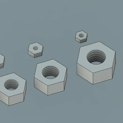 Metric_Nuts.PNG Download free STL file Metric Nuts, f3d, stp and STL files (Size M2 through M10) • 3D print design, Hawking