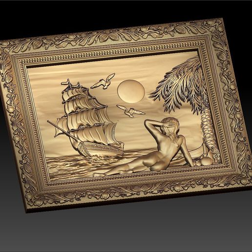 41.jpg Download free STL file naked woman in front of a ship boat cnc art frame • Model to 3D print, CNC_file_and_3D_Printing