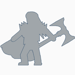 Long Haired Knight Double Axe.png Download STL file Long Haired Knight With Double Axe • 3D printer template, Ellie_Valkyrie